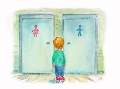 Unә bambinә transgender guarda le porte di due bagni cisgender senza sapere dove entrare