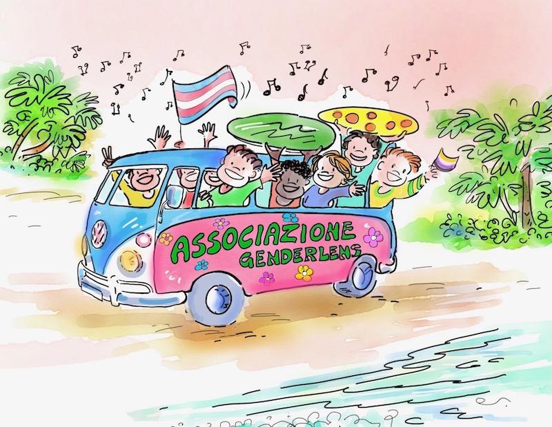 I volontari dell'associazione Famiglie Genderlens gioiosi sul pulmino rosa-azzurro
