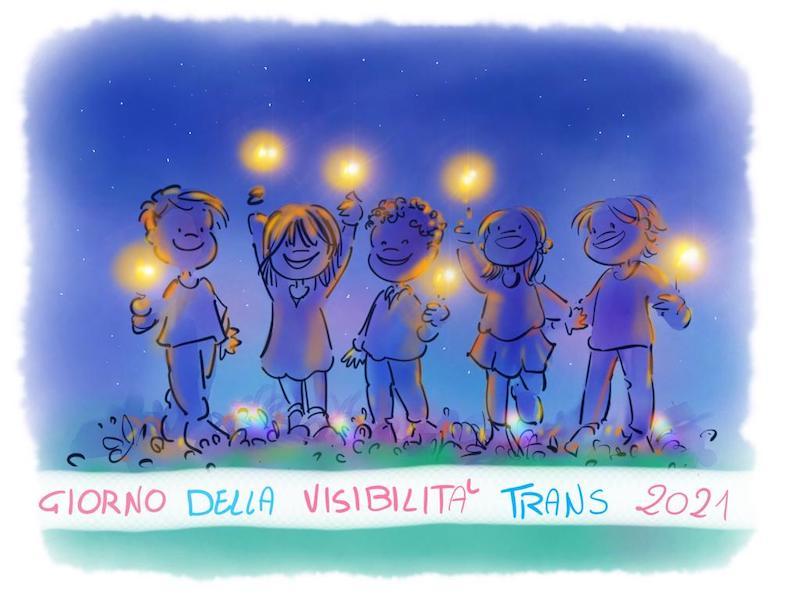 Bambinә gender varianti illuminano il cielo notturno con lucine per ricordare che il 31 marzo è la Giornata della Visibilità Trans