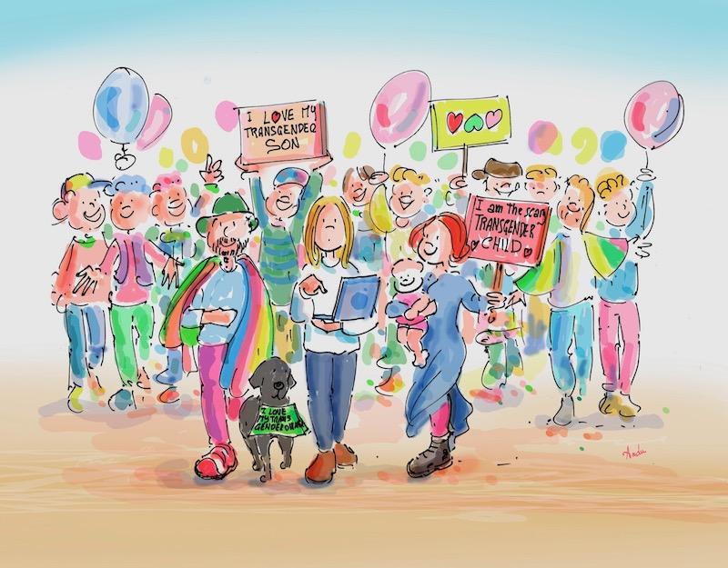 I genitori e i volontari dell'associazione Famiglie Genderlens marciano per i diritti dei bambin* transgender e queer