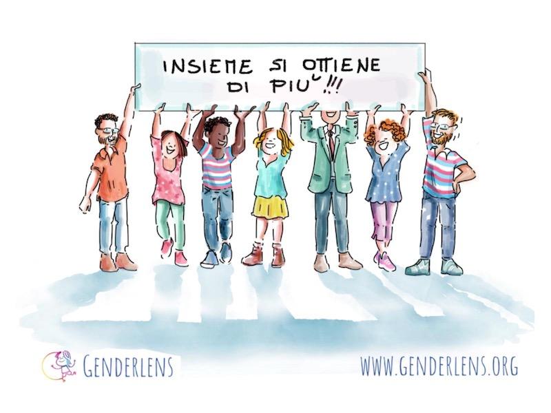 """I volontari dell'associazione GenderLens tengono alzato uno striscione su cui è scritto """"Insieme si ottiene di più"""""""