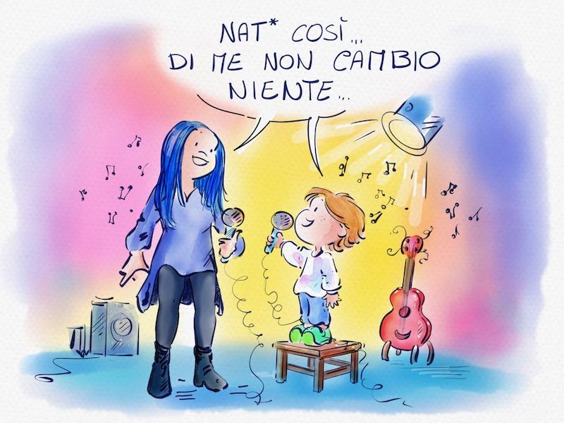 """Disegno di una bellissima Loredana Bertè che canta """"Figlia di..."""" con un bambino transgender"""