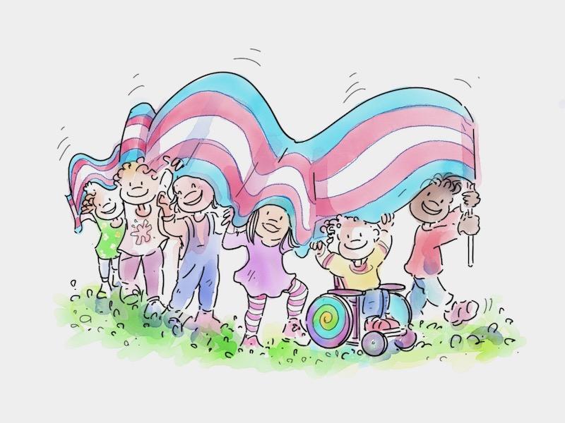 Bambinə Associazione Famiglie GenderLens portano la grande bandiera trans a righe azzurro-rosa-bianco
