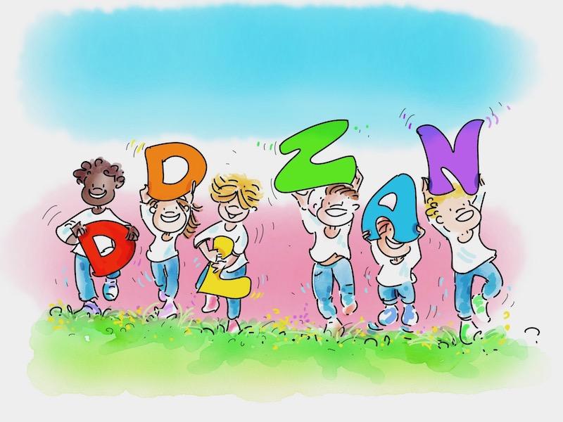 Bambini gender creative tengono grandi lettere che formano la scritta Ddl Zan